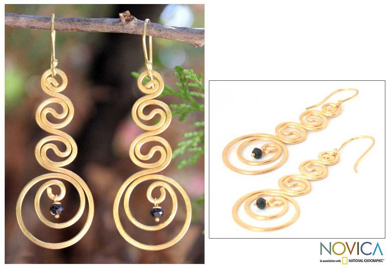 24k Goldplated 'Thai Energy' Onyx Drop Earrings (Thailand)