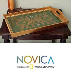 Reverse-painted Glass 'Colonial Jade' Serving Tray (Peru)