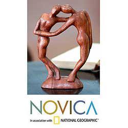 Suar Wood 'Couple in Love' Sculpture (Indonesia)