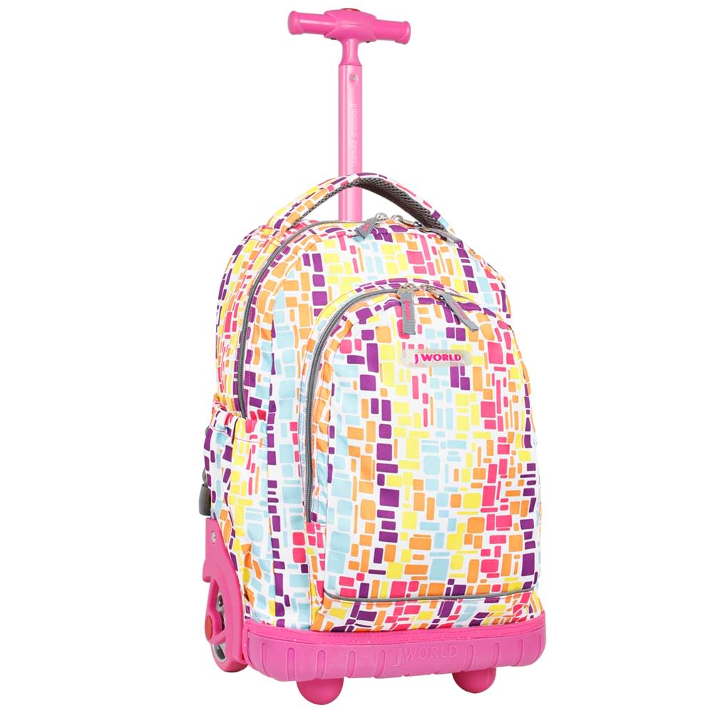 World Candy 17 inch Neon Squares Kids Rolling Backpack
