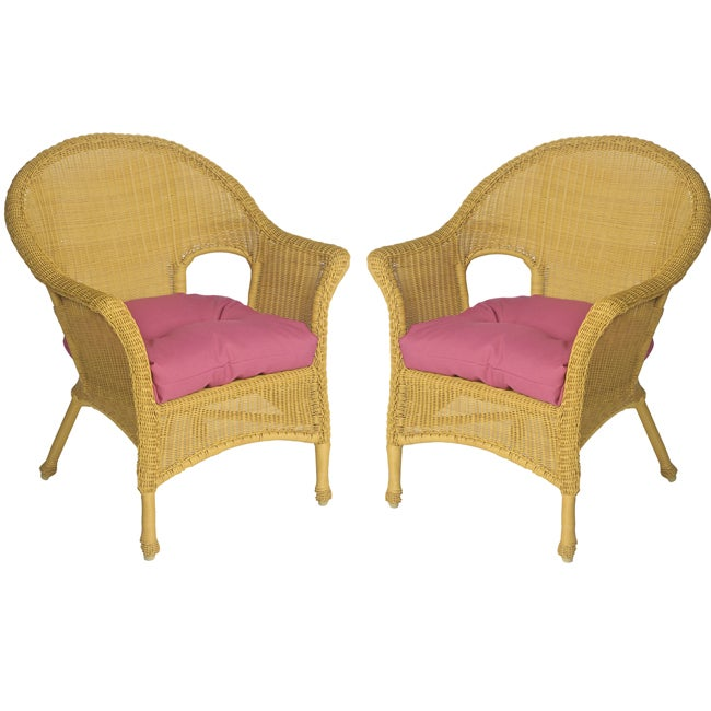 Mia All-weather Outdoor Polyester Mauve Wicker Chair Cushions Set