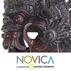 Sono Wood 'Black Rangda' Mask (Indonesia)