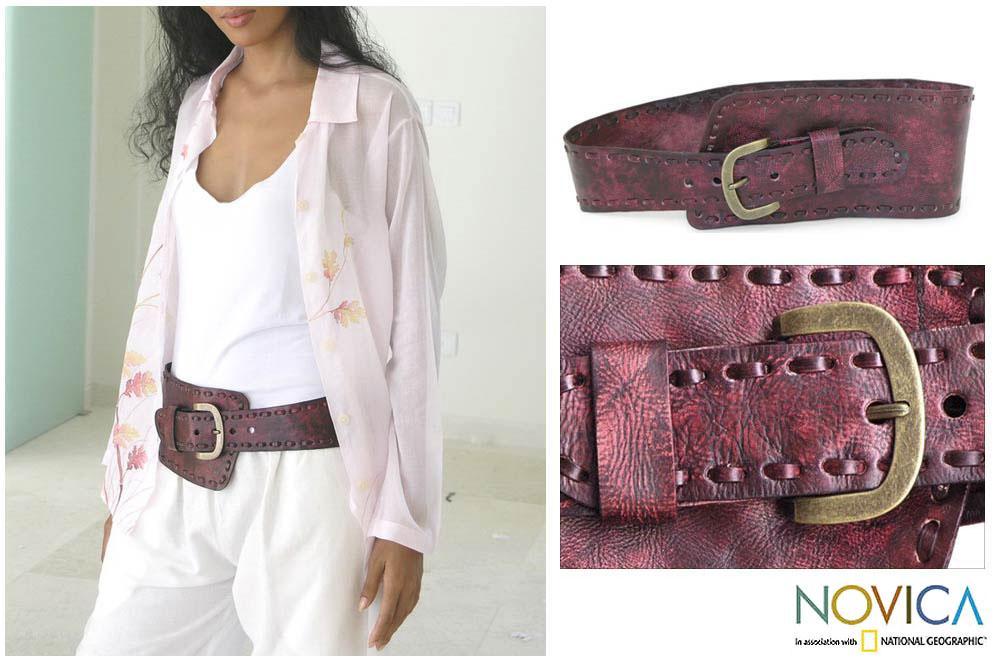 Leather 'Red Phenomena' Belt (Indonesia)