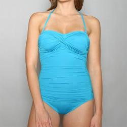 Jantzen Women's Teal Twisted 1-piece Maillot Swimsuit