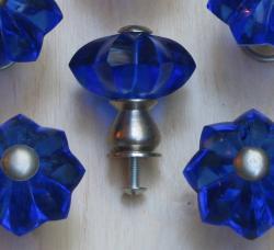 Cobalt Blue Star Glass and Satin Nickel Knobs (Set of 5)