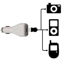 White Universal USB Car Charger Adapter