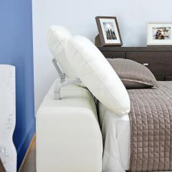 Romar Ivory Leather Modern Platform Bed (Queen)