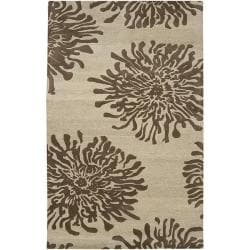Hand-tufted Contemporary Ivory/Brown Quinn New Zealand Wool Abstract Rug (5' x 8')