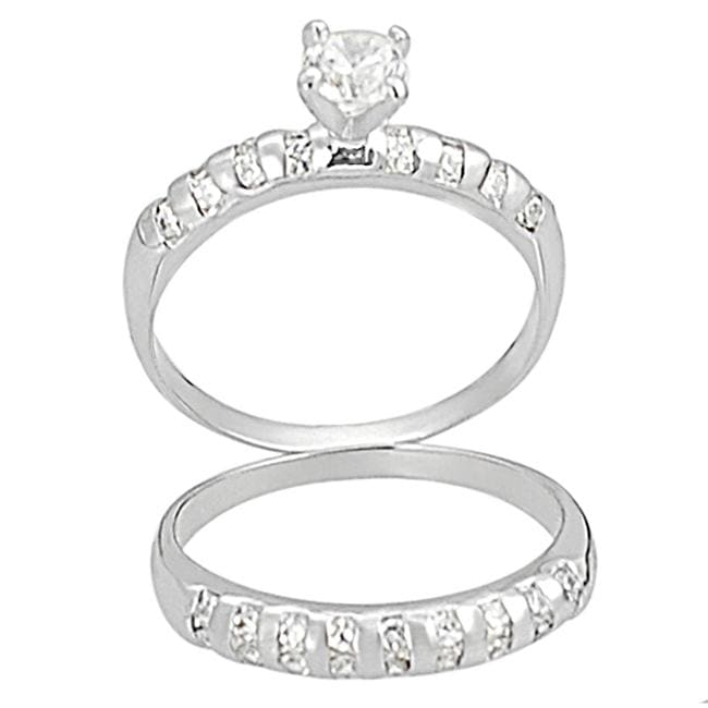 Journee Collection Silvertone Pave-set Round-cut CZ Bridal-style Ring Set
