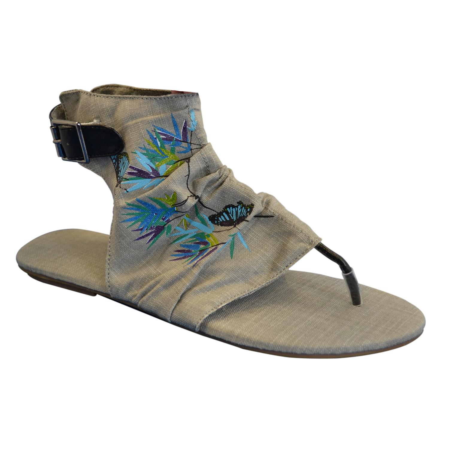 Muk Luks Women's Sun Luks Printed Canvas Cut-out Scrunched Gladiator Sandals