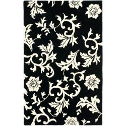 Handmade Soho Sillo Black New Zealand Wool Rug (3'6 x 5'6')