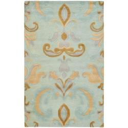 Handmade Soho Passage Light Blue New Zealand Wool Rug (5'x 8')