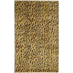 Handmade Soho Leopard Skin Beige N. Z. Wool Rug (9'6 x 13'6)