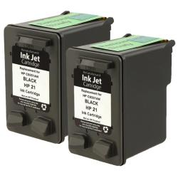 HP 21/ C9351AN Black Ink Cartridge (Remanufactured) (Pack of 2)