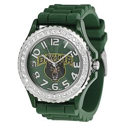 Geneva Women's Platinum Rhinestone-accented Baylor University Watch