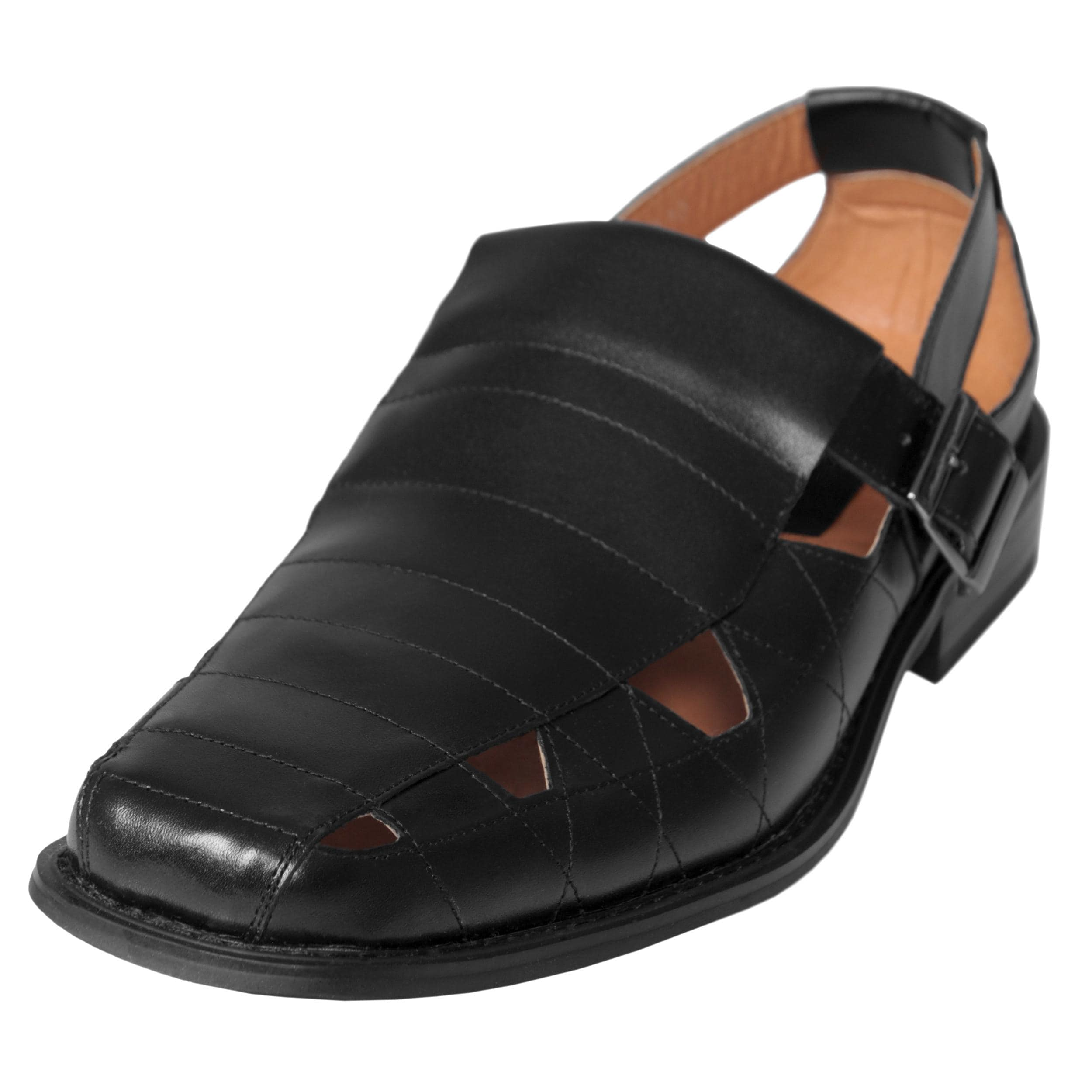 Boston Traveler Men's Leather Buckle Accent Sandals