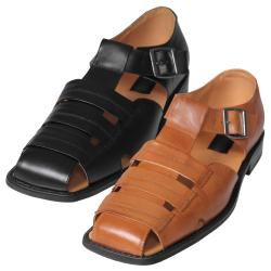 Boston Traveler Men's Genuine Leather Square Toe Sandals