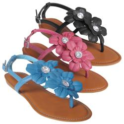 Journee Collection Women&#39;s &#39;Morning-17&#39; Floral Accent T-strap Sandals