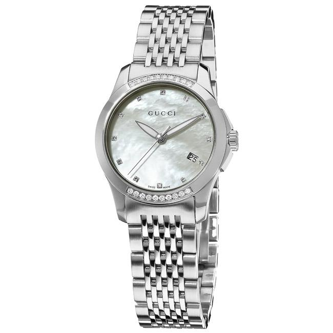 Gucci Women's 'G-Timeless' Diamond Mother of Pearl Dial Watch