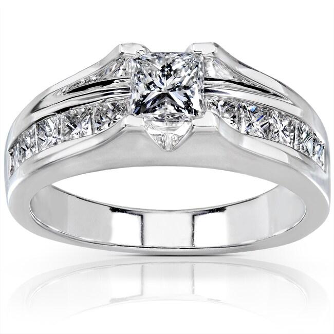 14k White Gold 1 1/2ct TDW Certified Diamond Engagement Ring (G-H, SI2)