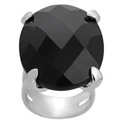 Journee Collection Silvertone Oval-cut Black CZ Ring