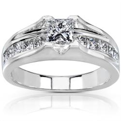 14k White Gold 1 1/2ct TDW Certified Diamond Engagement Ring (G-H, SI2)