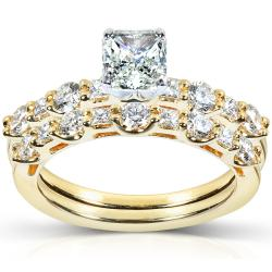 18k Gold 1 1/2ct TDW Certifed Diamond Bridal Ring Set (G-H, VS2)