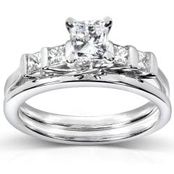 14k White Gold 1ct TDW Certifed Diamond Bridal Ring Set (D-E, SI1-SI2)