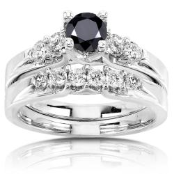 14k Gold 1 1/4ct TDW Black and White Diamond Bridal Ring Set (H-I, I1-I2)
