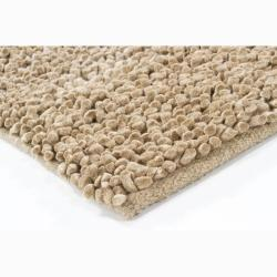 Handwoven Light Brown Mandara New Zealand Wool Shag Rug (9' x 13')