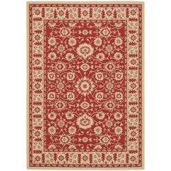 "Indoor/Outdoor Red/Creme Area Rug (4' x 5'7"")"