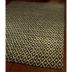 Hand-knotted Vegetable Dye Black/ Gold Rug (9&#39; x 12&#39;)