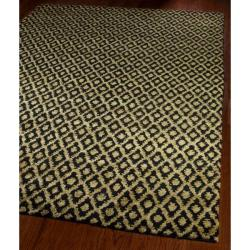 Hand-knotted Vegetable Dye Black/ Gold Rug (9' x 12')