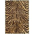 Hand-knotted Vegetable Dye Tiger Beige/ Black Rug (5' x 8')