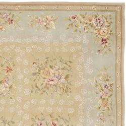 Safavieh Handmade Bouquet Tiles Sand/ Green Wool and Silk Rug (7'6 x 9'6)