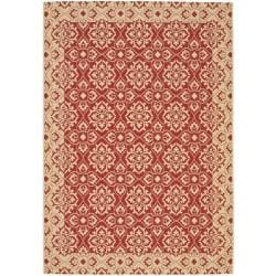 Indoor/Outdoor Red/Creme Bordered Rug (2'7 x 5')