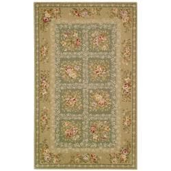 Handmade Bouquet Tiles Green/ Sand Wool and Silk Rug (5' x 8')