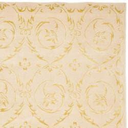 Safavieh Handmade Zen Bouquet Beige Wool and Silk Rug (6' x 9')