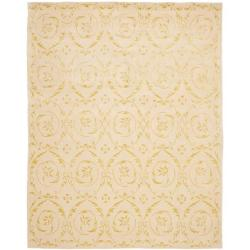Handmade Zen Bouquet Beige Wool and Silk Rug (6' x 9')