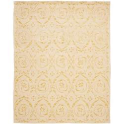 Handmade Zen Bouquet Beige Wool and Silk Rug (6' x 9')