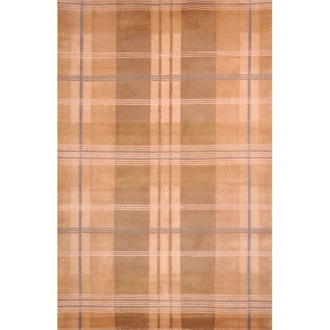 Safavieh Hand-knotted Lexington Plaid Beige Wool Rug (7'6 x 9'6)