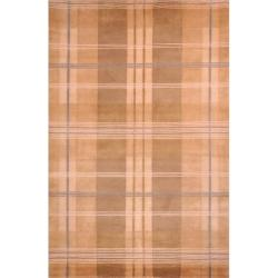 Hand-knotted Lexington Plaid Beige Wool Rug (7'6 x 9'6)