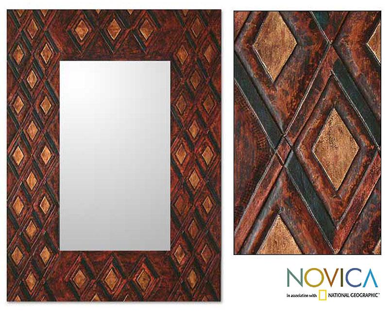 Handcrafted Leather 'Diamond Heart' Large Mirror (Peru)