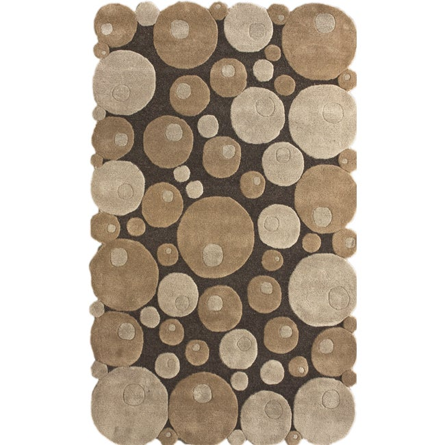nuLOOM Handmade Cirlces Brown Wool Rug (7'6 x 9'6)