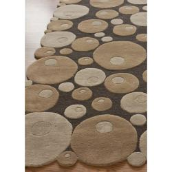 nuLOOM Handmade Cirlces Brown Wool Rug (7'6 x 9'6)