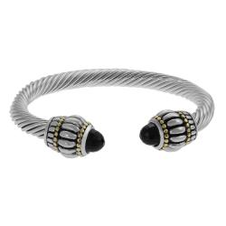 Journee Collection Two-tone Black CZ Twist Bracelet