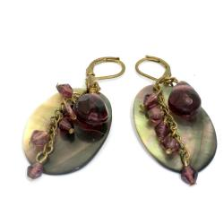 Brass Mother of Pearl and Purple Bead Earrings (India)