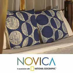 Set of Two Cotton 'Exotic Indigo' Cushion Covers (Thailand)