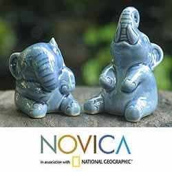 Ceramic &#39;Happy Blue Elephants&#39; Celadon Sculptures (Thailand)