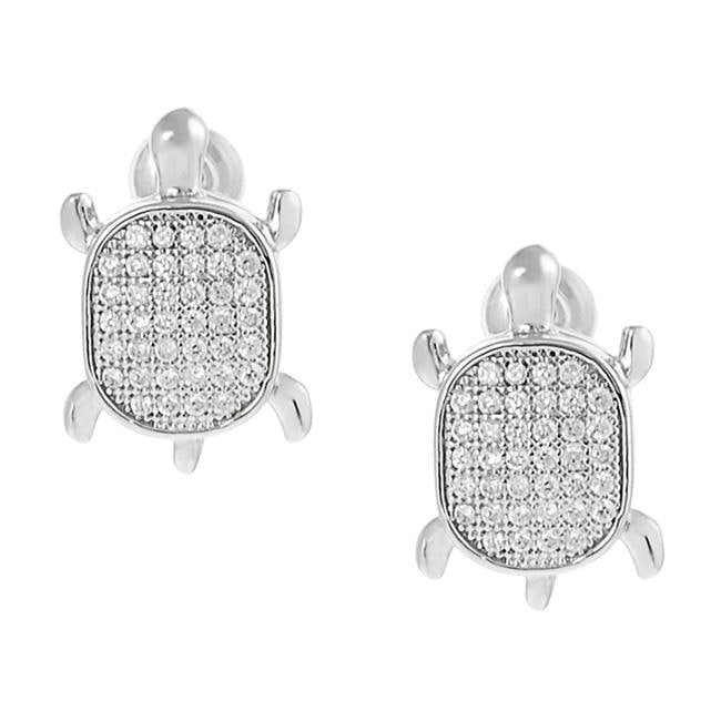 Journee Collection Silvertone Pave-set CZ Turtle Earrings